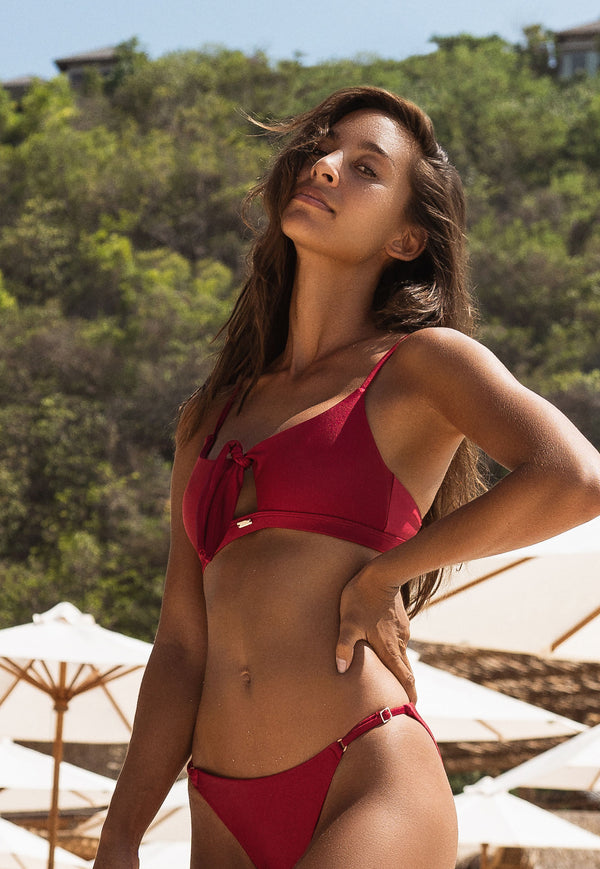 Aruba Front Tie Crop Top Bikini - Bordeaux - Laara Swim Sustainable Swimwear