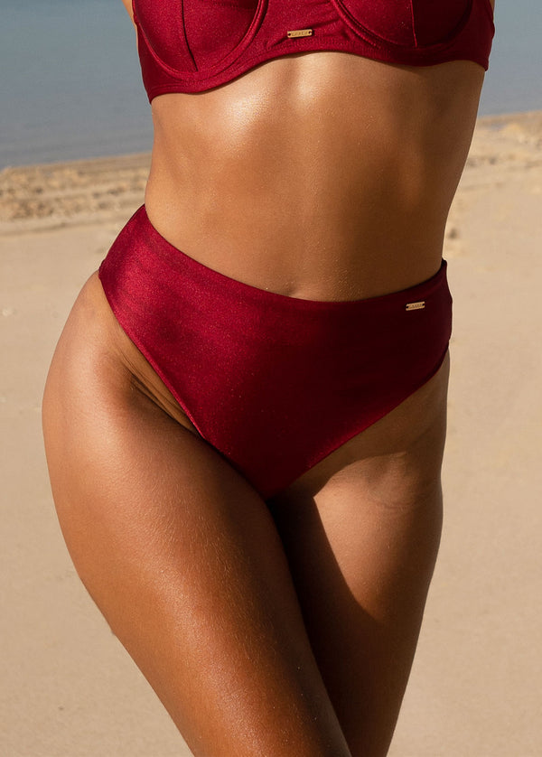 Belize High Waist Bikini Bottom - Bordeaux - Laara Swim Sustainable Swimwear