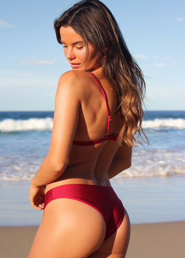 Brazilian High Cut Cheeky Bikini Bottom - Bordeaux - Laara Swim