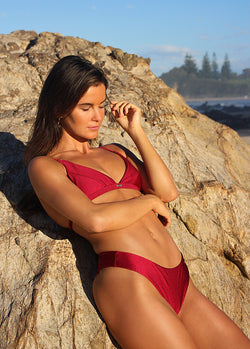 Havana Triangle Bikini Top - Bordeaux - Laara Swim Sustainable Swimwear