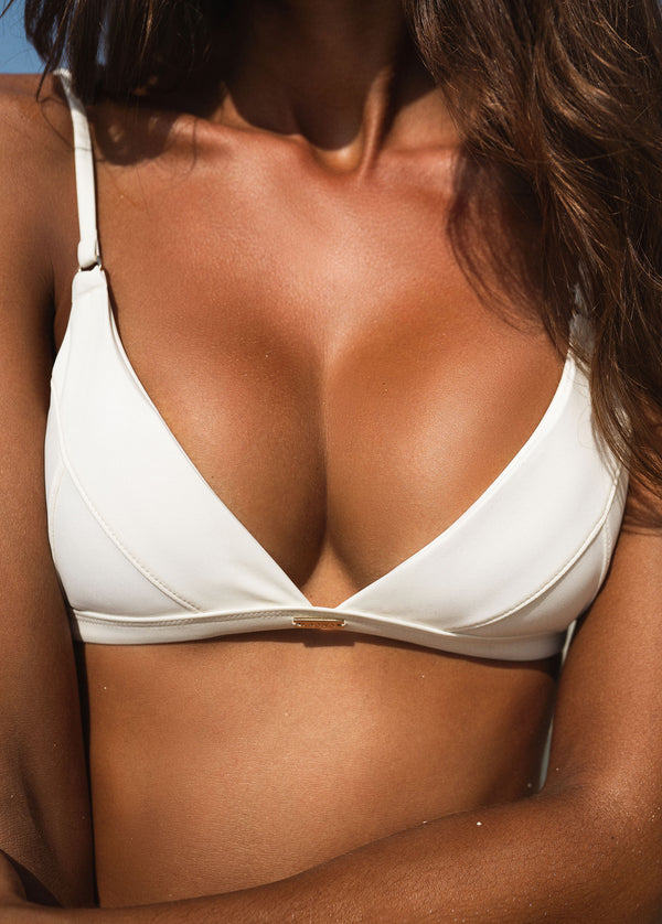 Havana Triangle Bikini Top - Ivory - Laara Swim Sustainable Swimwear