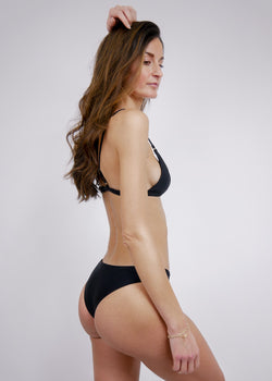 Brazilian High Cut Cheeky Bikini Bottom - Noir - Laara Swim Sustainable Swimwear