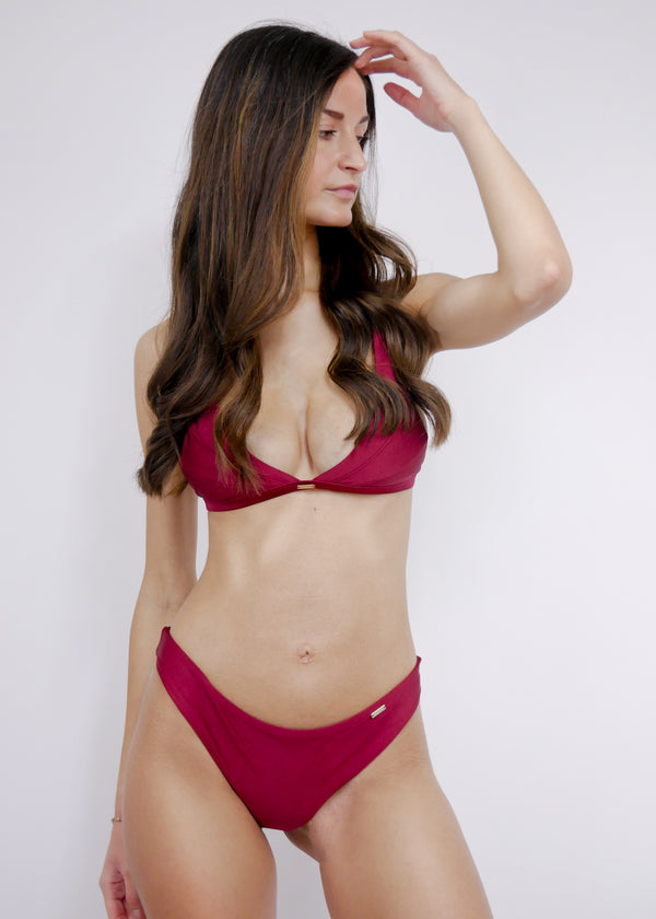 Jamaica Halter Bikini Top - Bordeaux - Laara Swim Sustainable Swimwear