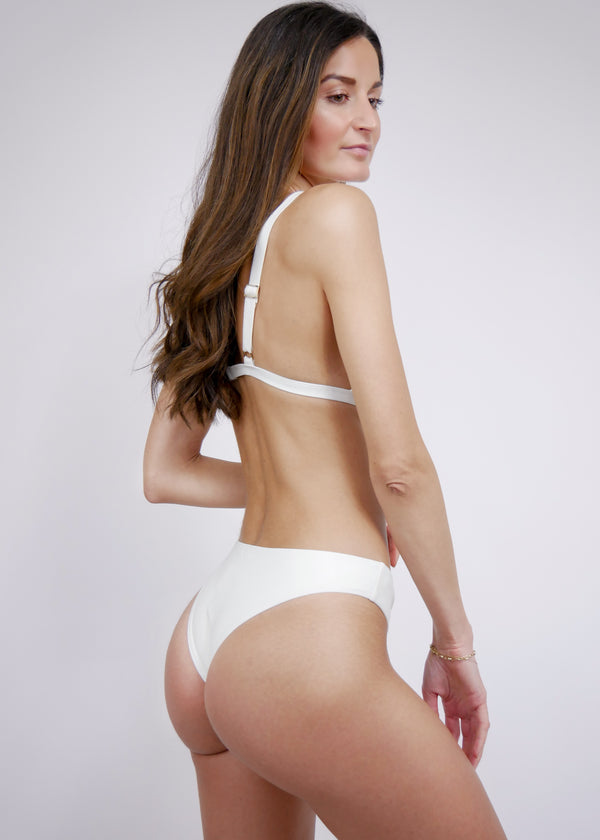 Brazilian High Cut Cheeky Bikini Bottom - Ivory - Laara Swim Sustainable Swimwear
