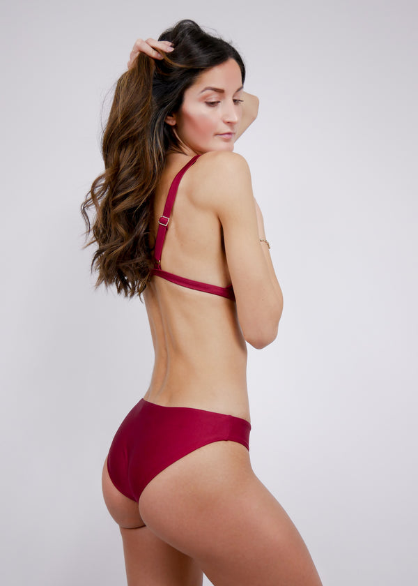 L'Aquila Look Good Classic Bottom - Bordeaux - Laara Swim Sustainable Swimwear