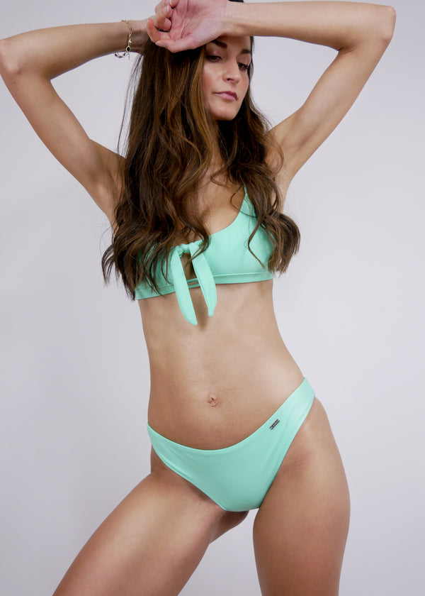 Aruba Front Tie Crop Top Bikini - Turquoise - Laara Swim Sustainable Swimwear