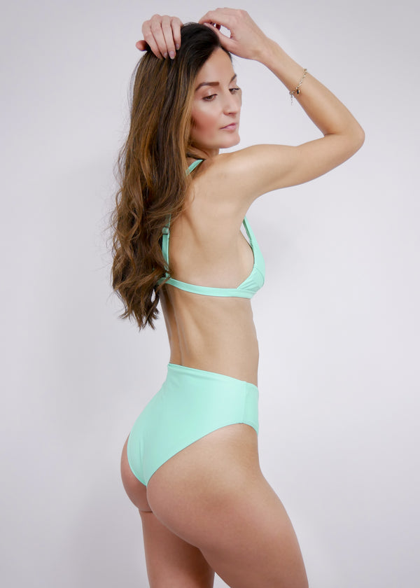 Belize High Waist Bikini Bottom - Turquoise - Laara Swim Sustainable Swimwear