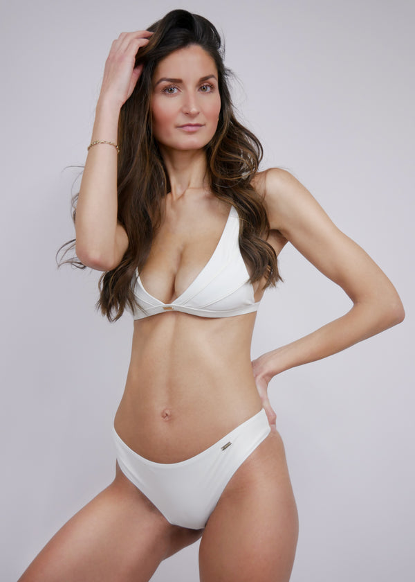 Jamaica Halter Bikini Top - Ivory - Laara Swim Sustainable Swimwear