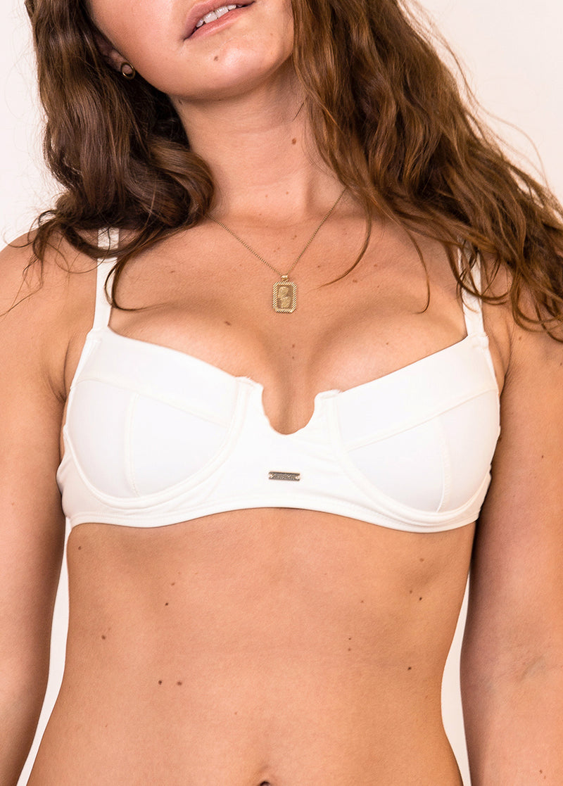 Maó Sexy Cavalier Underwire Bikini Top - Ivory - Laara Swim Sustainable Swimwear