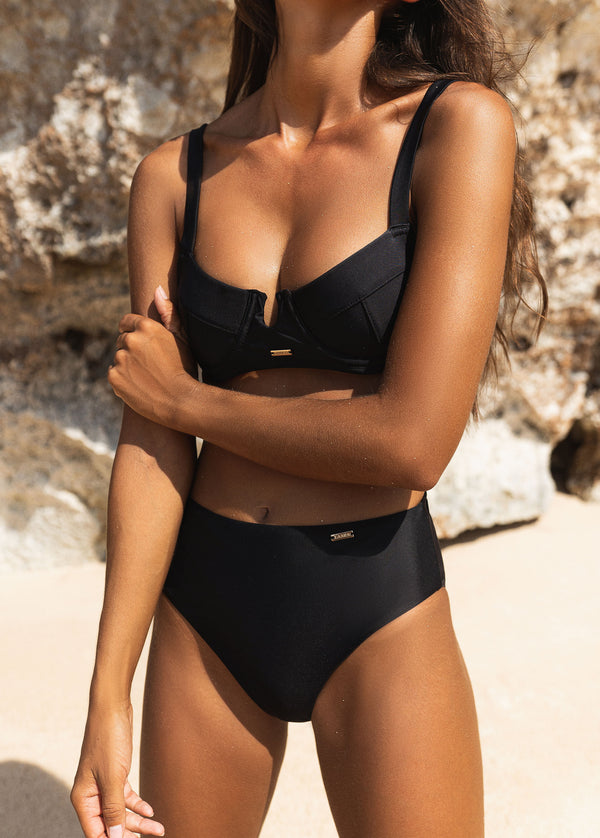 Belize High Waist Bikini Bottom - Noir - Laara Swim