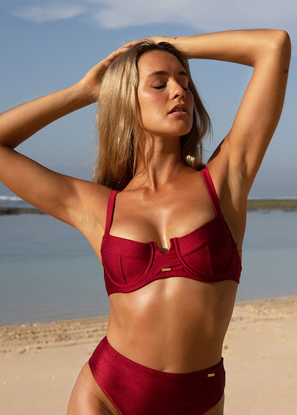 Maó Sexy Cavalier Underwire Bikini Top - Bordeaux - Laara Swim Sustainable Swimwear