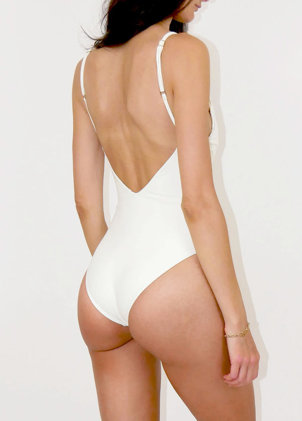 Marseille Deep V-Back Tie-Front One Piece - Ivory - Laara Swim