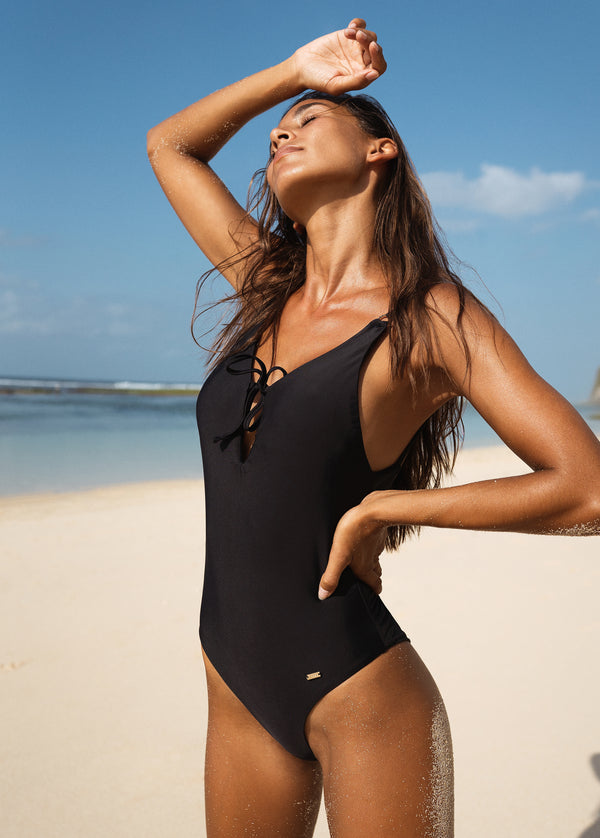 Marseille Deep V-Back Tie-Front One Piece - Noir - Laara Swim Sustainable Swimwear