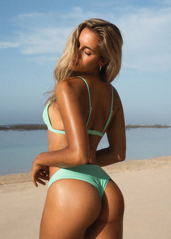 Brazilian High Cut Cheeky Bikini Bottom - Turquoise - Laara Swim Sustainable Swimwear