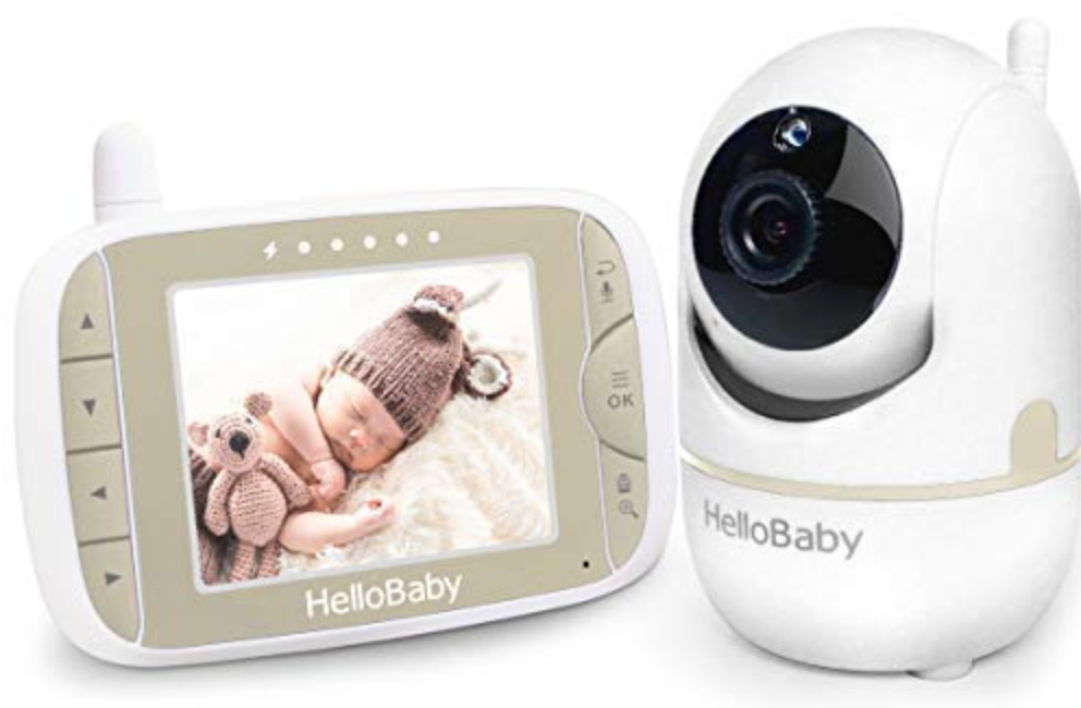 Baby Monitor with Remote Pan-Tilt-Zoom Camera and 3.2'' LCD Screen, Infrared Night Vision, Temperature Display, Lullaby, Two Way Audio, with Wall Mount Kit(EN)