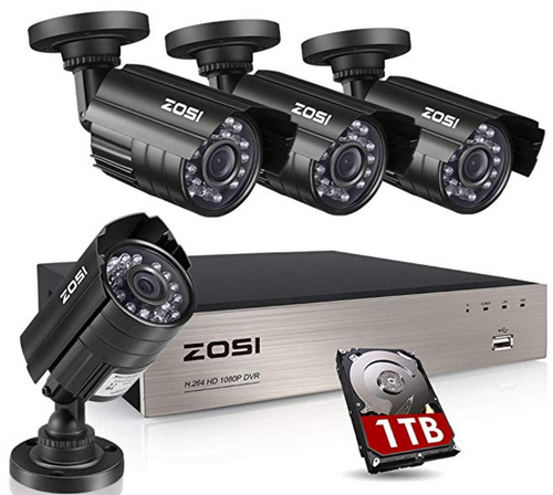 ZOSI 8CH Security Camera System HD-TVI Full 1080P Video DVR Recorder with 4X HD 1920TVL 1080P Indoor Outdoor Weatherproof CCTV Cameras 1TB Hard Drive,Motion Alert, Smartphone, PC Easy Remote Access(EN)