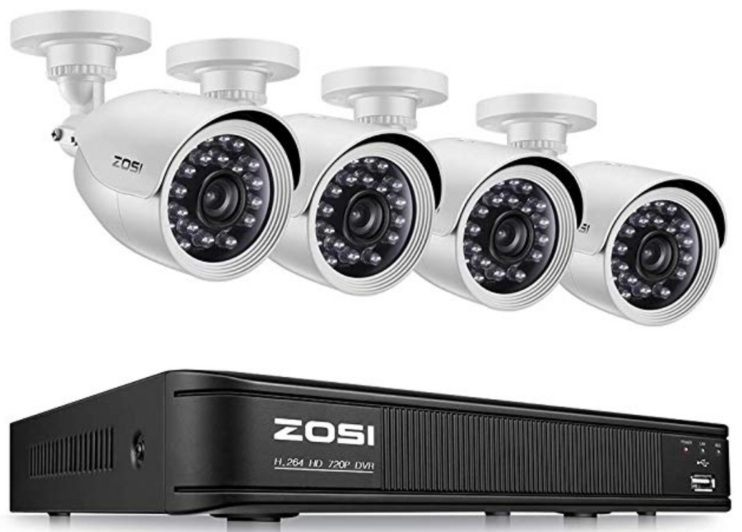 ZOSI 720P 8-Channel Home Security Camera System,1080N HD-TVI CCTV DVR Recorder and (4)1.0MP 720P(1280TVL) Night Vision Indoor/Outdoor Weatherproof Surveillance Bullet Cameras(No Hard Drive)(EN)