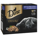 DINE DESIRE TUNA FILLET & WHOLE PRAWNS IN SEAFOOD SAUCE 6X85G - Humble Pet Products