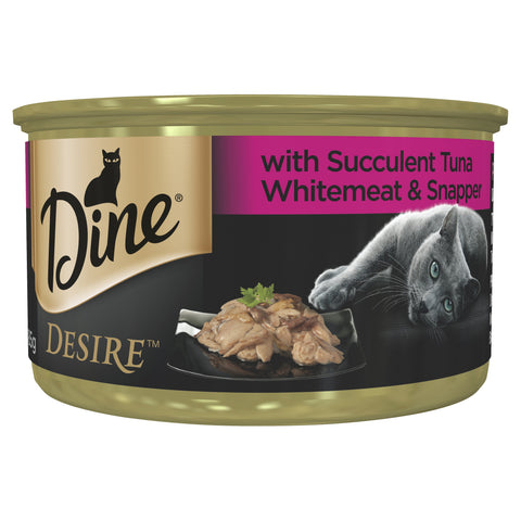DINE DESIRE TUNA WHITEMEAT SNAPPER 24X85G - Humble Pet Products