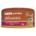Iams Purrfect Delicacies Beef With Salmon Dinner In Gravy 70gx24
