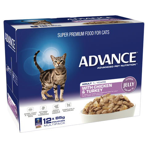 ADVANCE 1+ Adult Cat With Chicken & Turkey In Jelly (12x85g) - Humble Pet Products