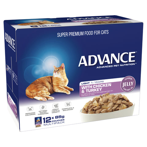 ADVANCE 1+ Years Light Cat With Chicken & Turkey In Jelly (12x85g)