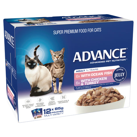 ADVANCE 1+ Years Adult Cat Multi Pack Tender Chunks In Jelly (12x85g) - Humble Pet Products