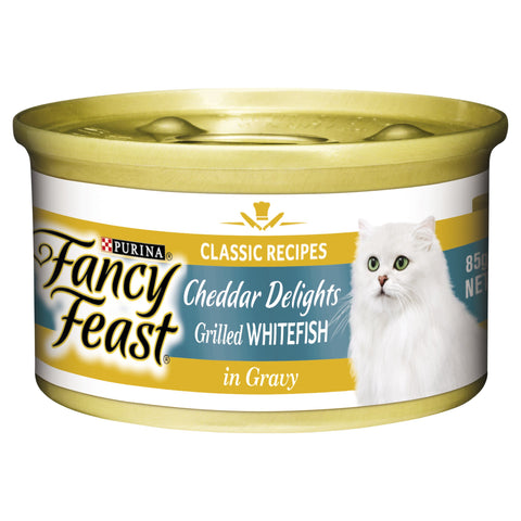 FANCY FEAST CHEDDAR DELIGHTS GRILLED WHITEFISH & CHEDDER IN GRAVY 24X85G