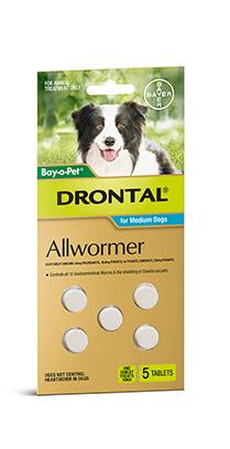 DRONTAL ALL WORMER TABLETS MEDIUM DOGS 5pack - Humble Pet Products