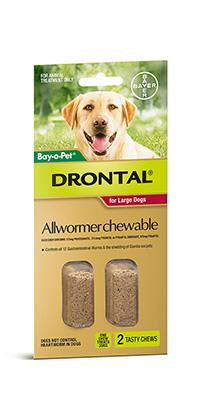 DRONTAL ALL WORMER CHEWABLE LARGE DOG 35KG 2pack - Humble Pet Products