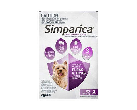 SIMPARICA XSMALL 2.6–5kg  3pack PURPLE
