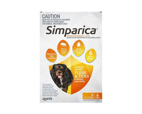 SIMPARICA SMALL 5.1–10kg ORANGE