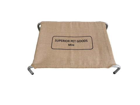 SUPERIOR STEEL FRAMED DOG BED WITH HESSIAN COVER