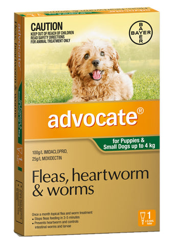 ADVOCATE DOG BAYER 0-4KG SMALL GREEN - Humble Pet Products