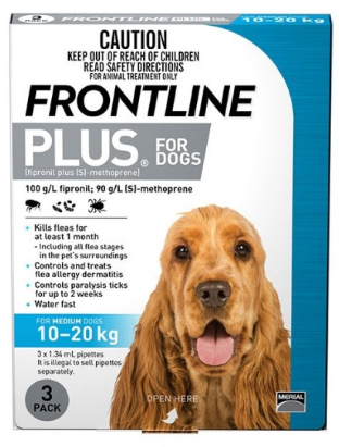 FRONTLINE PLUS DOG 10-20KG MEDIUM BLUE - Humble Pet Products