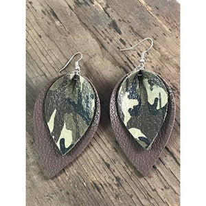 Camo Leather Leaf Earrings