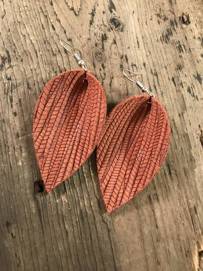 Palm Leather Leaf Earrings