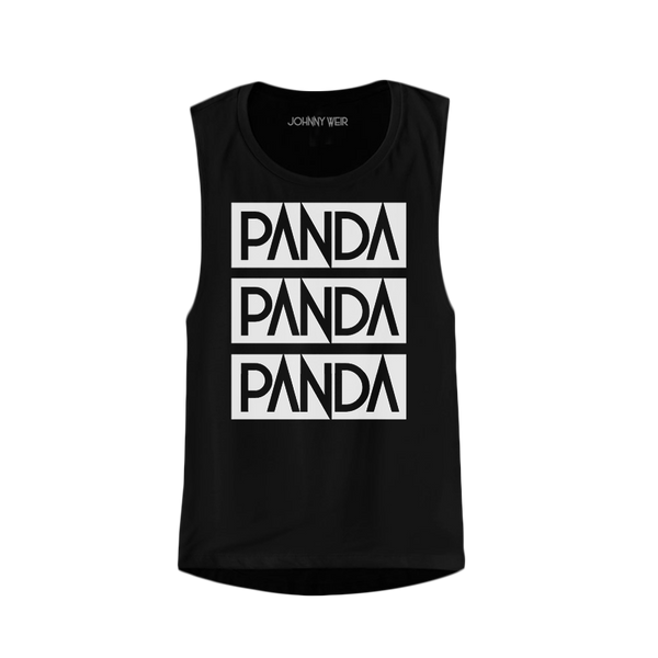 PANDA PANDA PANDA LADIES BLACK MUSCLE TEE