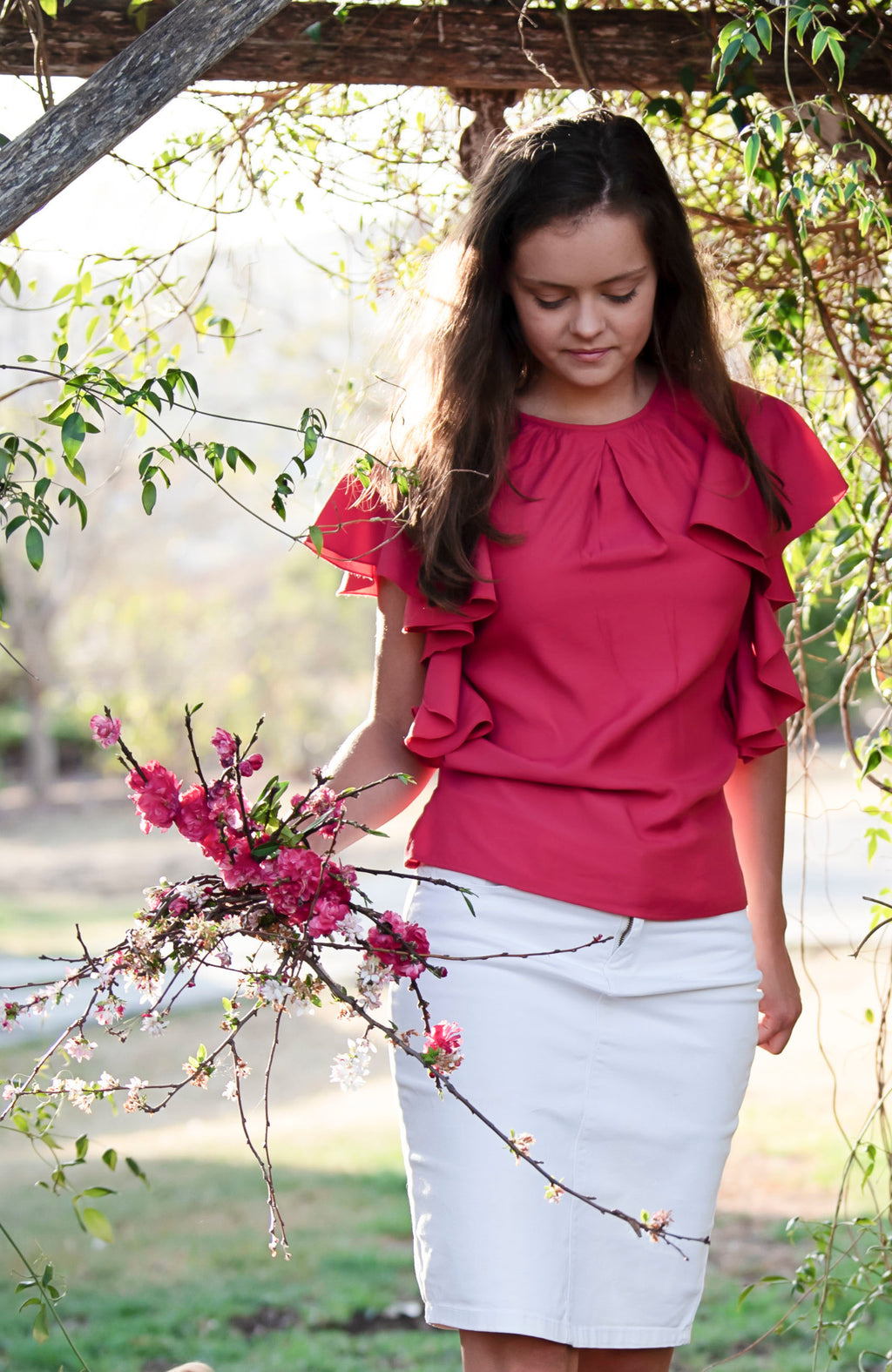Modest Fashion Label Australia | Feminine Hot Deep Pink Frilled Sleeve Bamboo Top | Modest Tops Australia | Cousin Billie