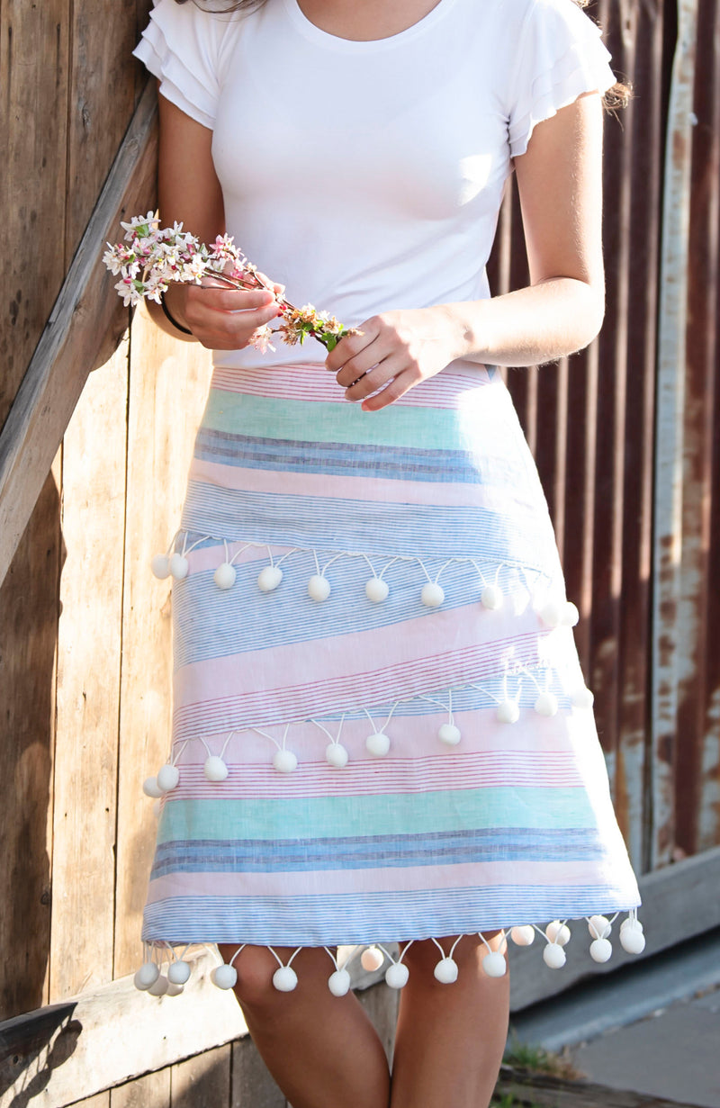 Modest Clothing Label Austalia | Pastel Striped A-Line PomPom Linen Skirt | Modest Skirts Australia | Cousin Billie
