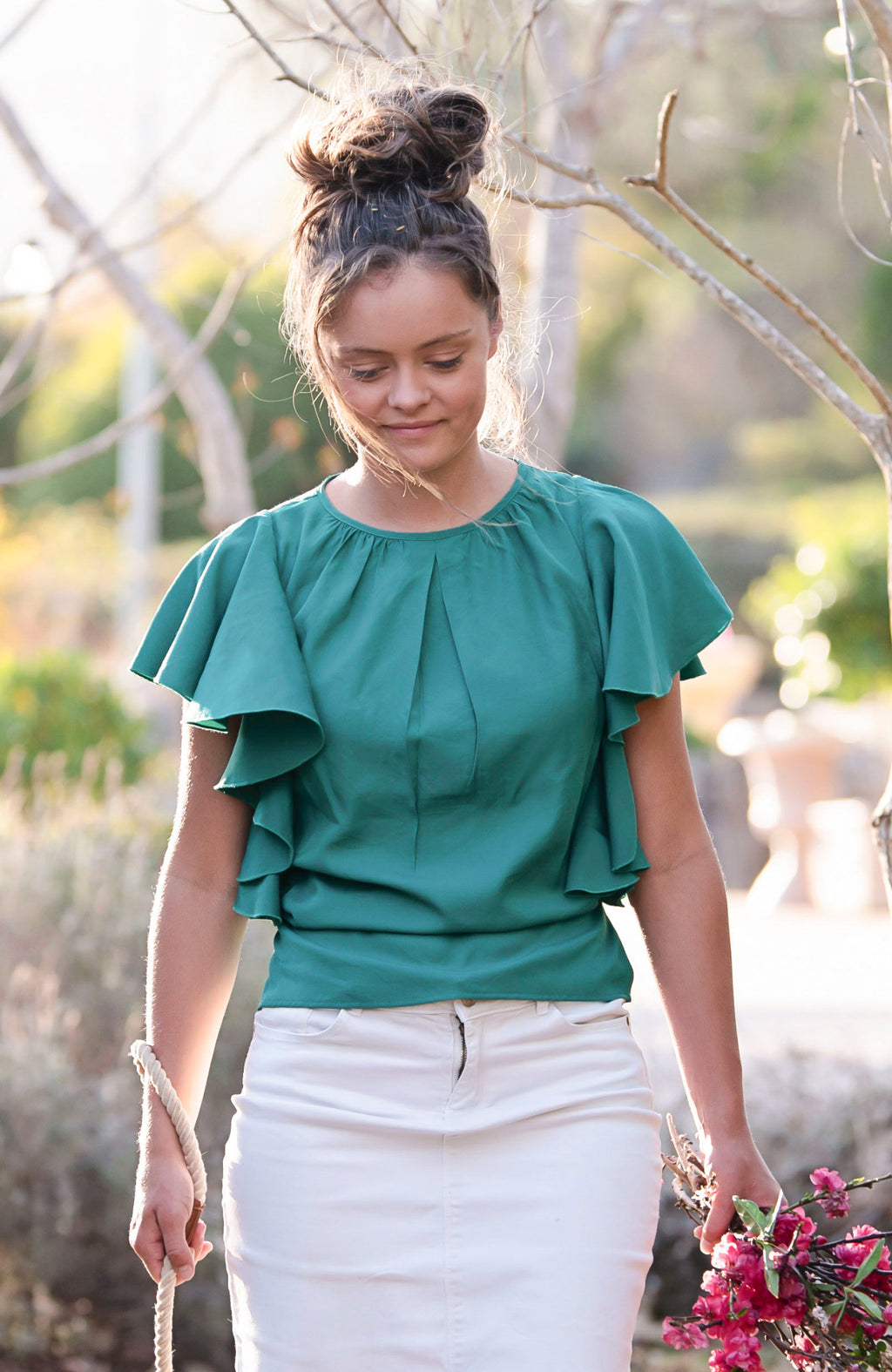 Modest Fashion Label Australia | Feminine Island Green Frilled Sleeve Bamboo Top | Modest Tops Australia | Cousin Billie