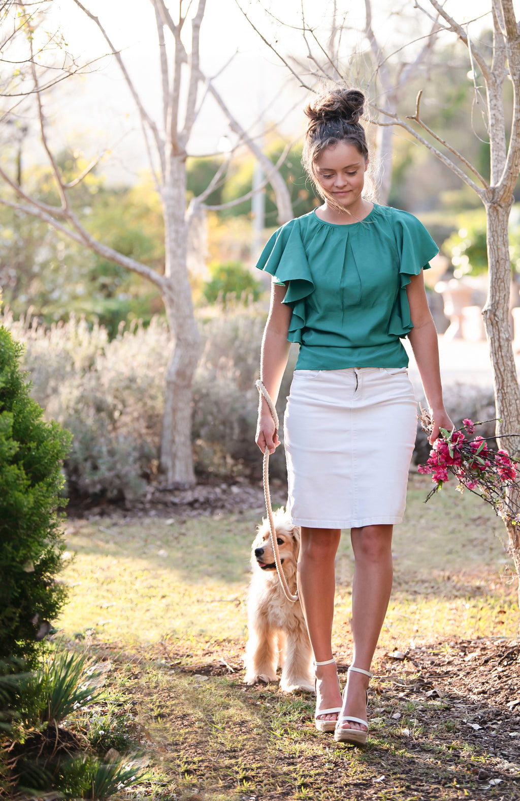 Feminine Island Green Frilled Sleeve Top | Modest Tops Australia