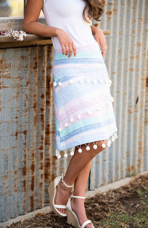 A-Line Skirt | Pastel Striped Linen PomPoms | Fun and Feminine Women's Fashion Online Australia
