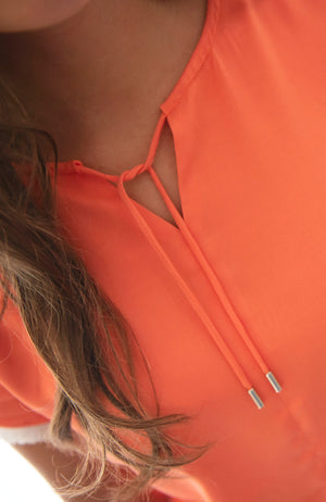 V-Neck Top with Sleeves | Coral Apricot | Fun and Feminine Women's Fashion Online Australia