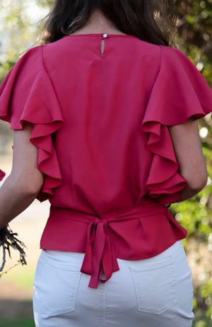 Frilled Sleeve Top | Pink | Bamboo | Fun and Feminine Women's Fashion Online Australia