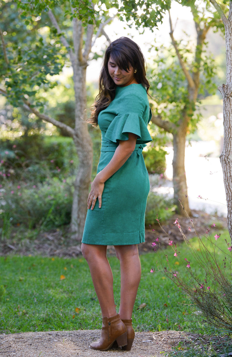 Adelina Frilled Linen Dress - Shamrock