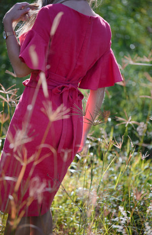 Adelina Frilled Linen Dress - Pomegranate