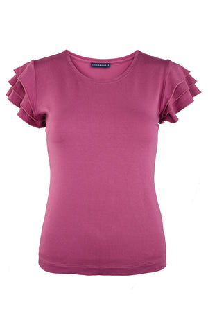 Mulberry Frilled Sleeve Elegant Basic Summer Top | Cousin Billie