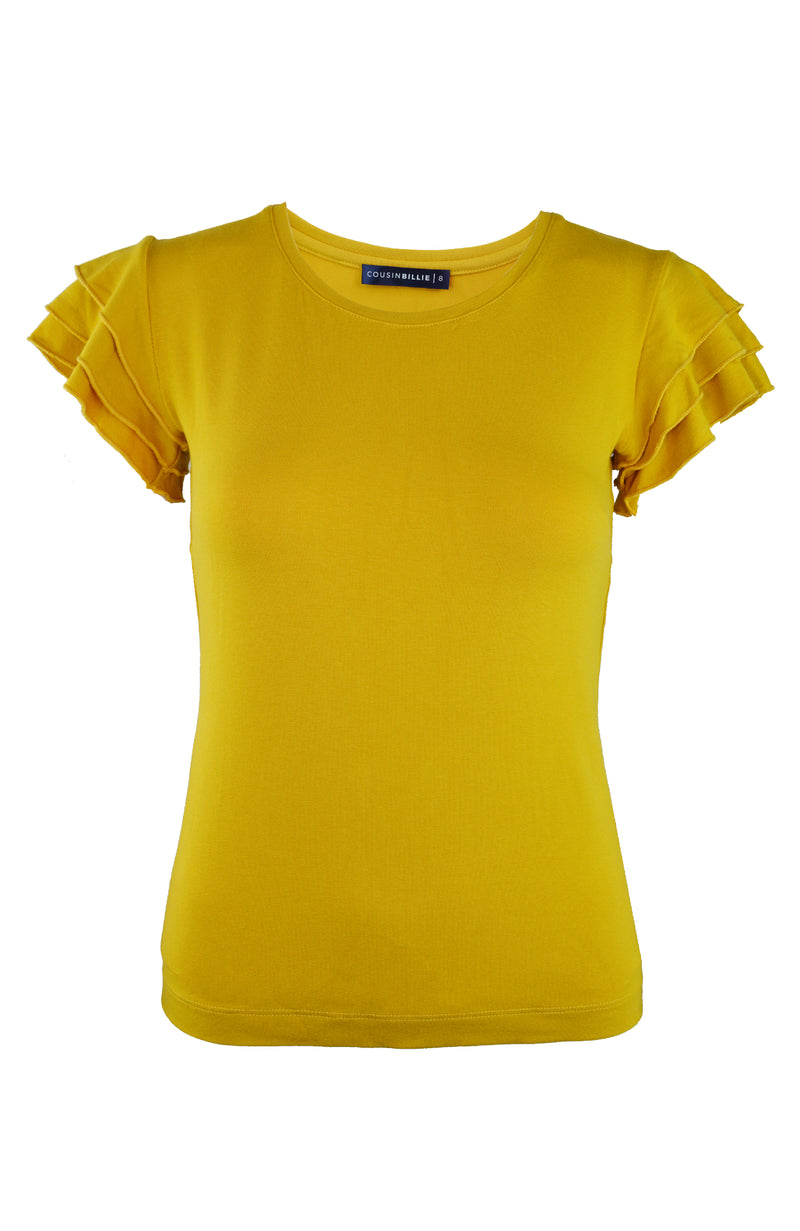 Mustard Frilled Sleeve Elegant Basic Summer Top | Cousin Billie