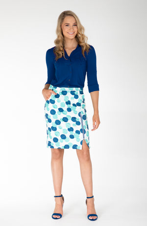Modest Fashion Label Australia | Blue Green Spotted Polka Dot Pencil Skirt | Lined | Stretch Cotton | Work Skirt | Bright Corporate Fashion | Cousin Billie